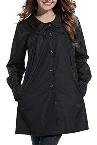 DOKER Womens Girls Lightweight Hooded Waterproof Outdoor Raincoat Jacket Coat Black M