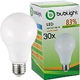 30x Bublight LED Lampe E27 9W, ersetzt 55W Glühbirnen, Energieklasse A+ (E-A ++), 3000 Kelvin warmweiss Glühlampe Birne Tropfen LED-Glühlampen Leuchte