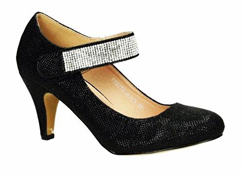 Klassische Glitzer Damen Mary Jane Riemchen Pumps Stilettos Abend High Heels Plateau Schuhe 353 (40, Schwarz)