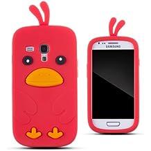Zooky AG349 - Carcasa de silicona para Samsung Galaxy S III Mini, diseño de pollo, color rojo