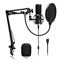 USB Streaming Podcast PC Microphone, VeGue professional 192KHZ/24Bit Studio Cardioid Condenser Mic Kit for Skype Youtube,Gaming Recording,Voice Over (VG-016)