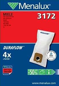 Menalux 3172 4 Sacs Aspirateur Compatible pour Miele Art + 1 Filtre Moteur