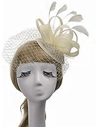 572e5bdbdd6b2 Eeayyygch Sombrero - Gorros de otoño e Invierno para Mujer Tops Sombrero de  Lino Retro británico Sombreros de…
