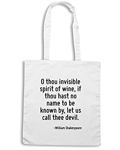 T-Shirtshock - Sac shopping CIT0172 O thou invisible spirit of wine, if thou hast no name to be known by, let us call thee devil., Taille Capacita 10 litri
