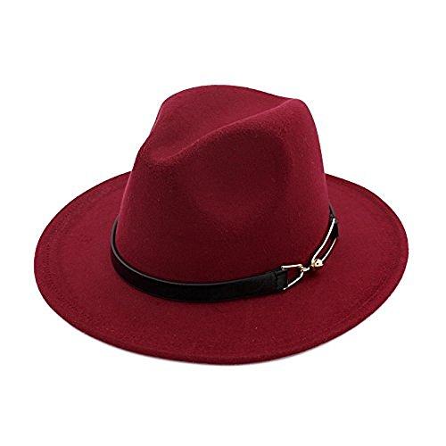 Ahat Chapeau Fedora Femme avec ceinture en cuir et boucle en cuivre Détail Rouge foncé