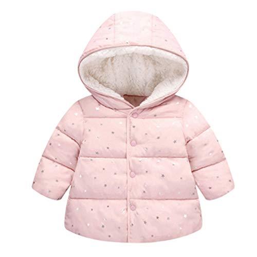 FeiliandaJJ kinder mantel mädchen winter,Toddler Stars Drucken Mit Kapuze Baumwolle gefütterte Coat Plus Samt Verdicken Outwear Jacken Kids Warme Kleidung (110 (2~3 Jahr alt), Rosa) -