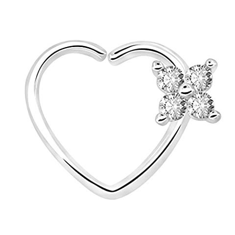 OUFER Body Piercing 18Ct en or blanc plaqué Clair CZ En forme de coeur Fermeture à gauche Daith Cartilage Tragus Boucles d'oreilles en 16Gauge Cartilage Heart Tragus Earrings (White Clear)