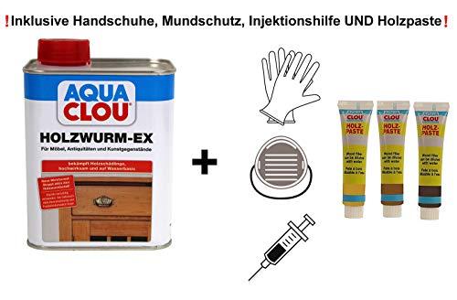 Clou Holzwurm Ex Holzwurmmittel zur Bekämpfung von Holzschädlingen innen Holzwurmtod Set mit Holzspachtel und Zubehör (1 x 0,75L)