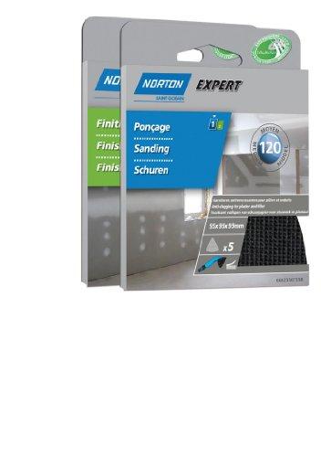 Norton Schleifpapier Blatt Expert für Putz und Füllmaterial 95 x 95 mm Körnung 120 5 Stück (Norton 120 Schleifpapier)