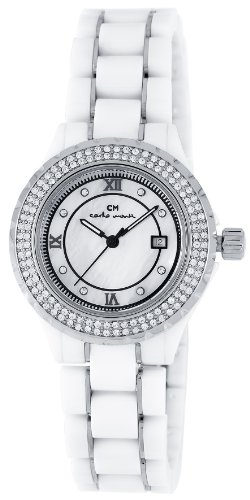 Carlo Monti Ladies Quartz Watch with Mother Of Pearl Dial Analogue Display and White Ceramic Bracelet CM201-186A