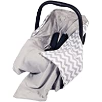 NEW!! UNIQUE DOUBLE-SIDED CAR SEAT GREY/GREY CHEVRON BLANKET / COVER / COSYTOES - FOOTMUFF! 100x100cm - BLANKET WITH SEAT BELT HOLES