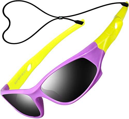 ATTCL Kinder Sonnenbrille TR90 Polarisierte Sportbrille für Jungen und Mädchen Alter 3-10 5025 purple-yellow