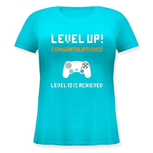 Geburtstag - 18. Geburtstag - Gamer Level 18 - Lockeres Damen-Shirt in Großen Größen mit Rundhalsausschnitt Türkis