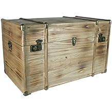 CAL FUSTER - Baúl de madera maciza grande con herrajes