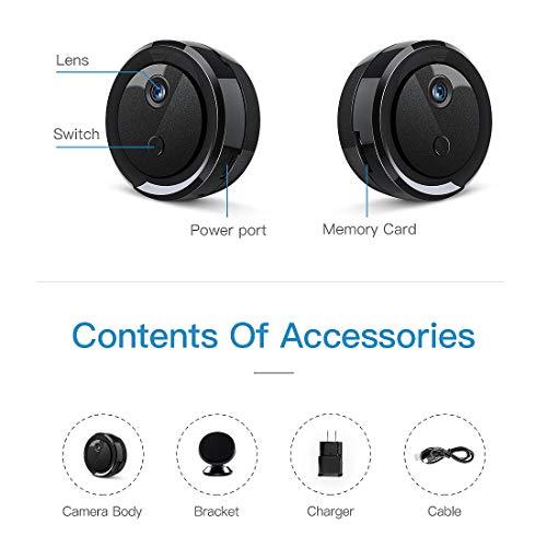 FREDI Mini WiFi Cámara Espía/Cámara Oculta/ 1080P HD Mini WiFi Cámara Portátil Interior/Hogar Cámara IP de Seguridad/Visión Nocturna Detección de Movimiento/Cámara vigilancia
