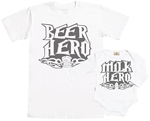 SR - Gift Boxed Dad & Baby Gift Set - Milk Hero & Beer Hero Matching Father T-Shirt & Baby Babygrow