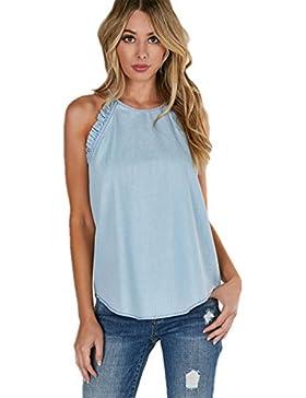 Moda Sin Mangas Tirantes Finos Con Volantes Algodón Camiseta de Tirantes Camisola Vest Cami Top Azul
