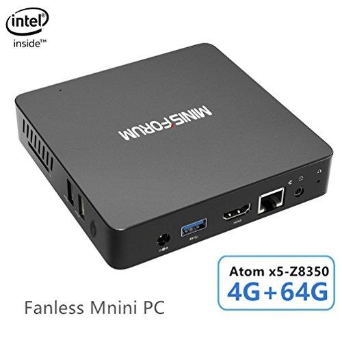 Z83-F Fanless Windows 10 Pro Mini PC, Processeur Intel Atom x5-Z8350(2M Cache, Jusqu'à 1,92 GHz)4K/4GB/64GB 1000Mbps LAN 2.4/5.8 WiFi Bi-bande BT 4.0 Affichage Double Écran avec Ports HDMI et VGA