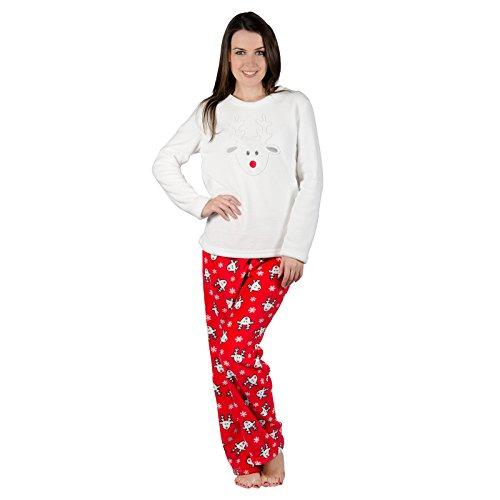 Autumn Faith Ladies Rudolf Reindeer Fleece Pyjama Set PJS Top & Bottoms Christmas Nightwear