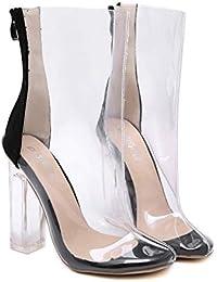 ANNIESHOE Botas Mujer Elegantes Sexy Zapatos Botines Tacon Ancho Primavera Verano