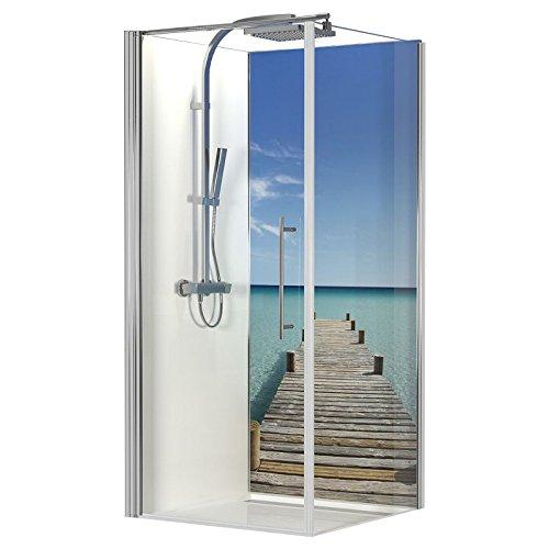 Schulte 4061554000515 Panneau mural décoratif Décodesign Photo, revêtement mural pour douche et salle de bains, motif ponton de Maldives, 90x210 cm
