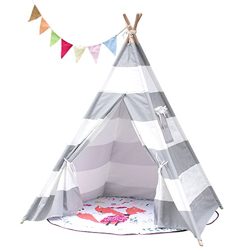Tipi Zelt für Kinder mit Schließbarem Fenster , Indianer Spielzelt aus Segeltuch Baumwolle GRAU