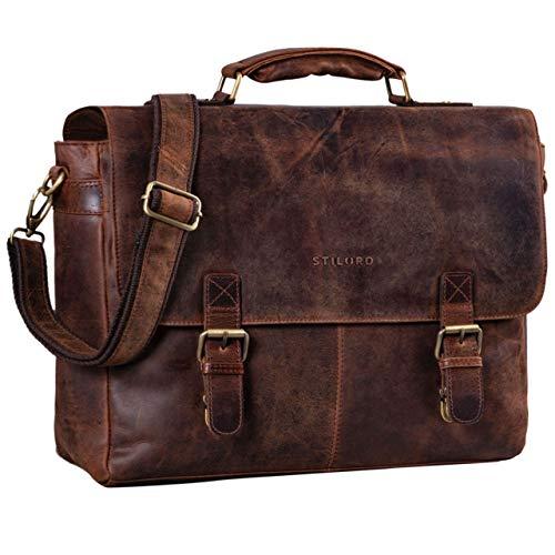 STILORD 'Dorian' Große Aktentasche Leder Herren Vintage Businesstasche zum Umhängen mit 15.6 Zoll Laptop-Fach Trolley Aufsteckbar, Farbe:Zamora - braun