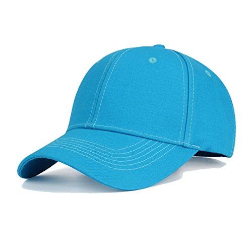 Baumwolle Baseball Cap, Basecap - KeepSa Unisex Baseball Kappen, Baseball Mützen für Draussen, Sport oder auf Reisen - Reine Farbe Baseboard Baseballkappe Kappe, Mütze (Eine Größe einstellbar, Wasser blau)