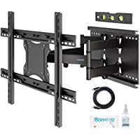 "BONTEC Tilt Swivel TV Wall Mount Bracket for 37""-80"" LED LCD OLED Plasma Flat & Curved Screens - Heavy Duty Double Arm Full Motion Ultra Strong Solid Max VESA 600x400 up to 90KG"