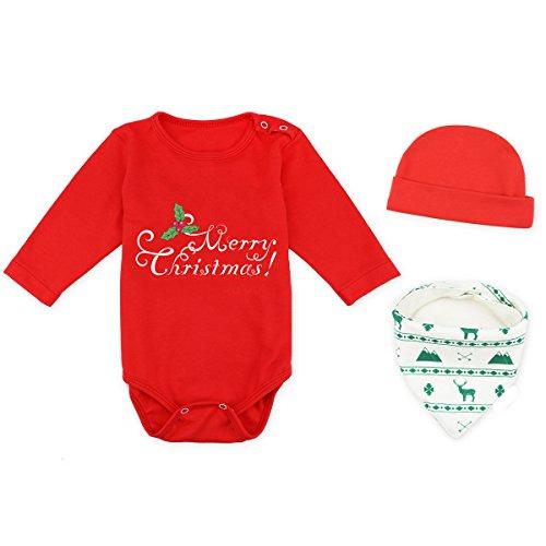 3er Baby Jungen Mädchen Langarm Body Weihnachten mit Dreieckstuch Lätzchen Mützen Baumwolle Rot 6-9 Monate