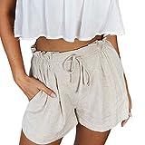 OIKAY Shorts Damen Sommer Frauen Casual Hosen Hosen Damen Kurze Hosen Mit Tasche Taillen gürtel Damen(Beige,XL)