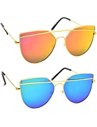 Y&S Stylish Combo Of Blue And Red UV Protected Unisex Wayfarer Cateye Sunglasses For Girls / Women / Mens / Boys...