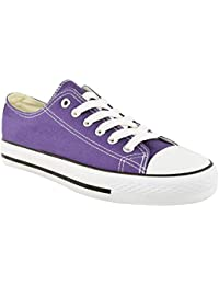 My Shoe Store? NEW LADIES WOMENS GIRLS CASUAL CANVAS LACE UP PLIMSOLLS FLAT TRAINERS