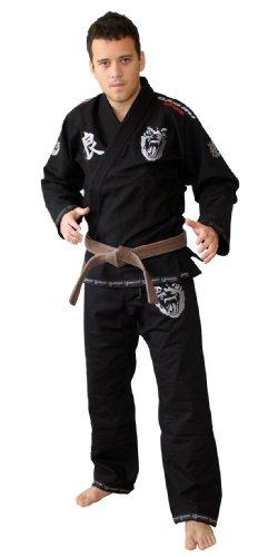 Okami fightgear kimono bjj gi, nero (schwarz - schwarz), taglia a0