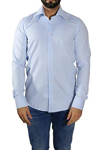 Extra Langarm Hemd Fil-a-fil Muster Slim-fit/Tailliert MUGA Mittelblau