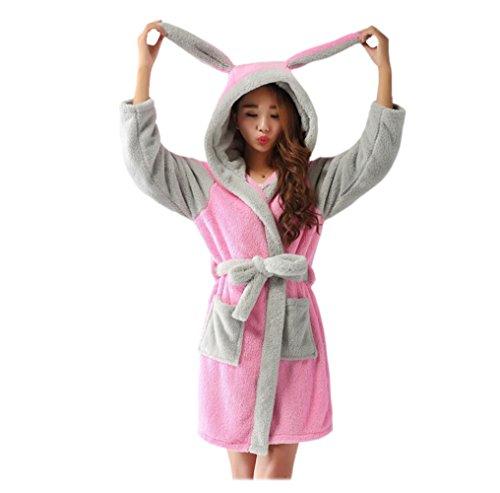 CuteOn Unisexe Couple Aux Femmes Pour des Hommes Dessin Animé Animal Molleton Hooded Chaud Robe de chambre Peignoir Housecoat Cosplay Lapin