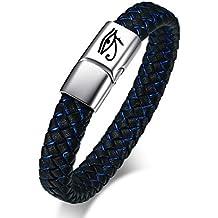Vnox Estilo Retro de Acero Inoxidable para Hombre Genuino Azul Pulsera de Cuero Trenzado Negro Ojo de Horus Pulsera Brazalete,21cm