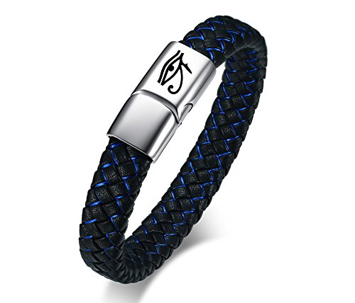Imagen de vnox estilo retro de acero inoxidable para hombre genuino azul pulsera de cuero trenzado negro ojo de horus pulsera brazalete,21cm
