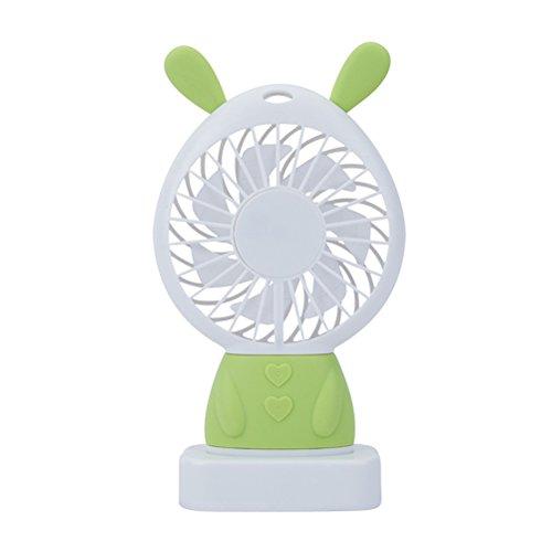 ThreeCat Mini-persönlicher Ventilator - Netter entzückender USB-aufladbarer Ventilator, kleiner beweglicher Ventilator mit Mehrfarben-LED-Licht, 2 justierbare Geschwindigkeiten, vervollkommnen für Innen- oder im Freienaktivitäten (Lanyard Disneyland)