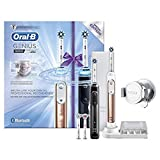 Oral-B Genius 9900 Set of 2 Electric Toothbrushes Rechargeable, 2 Handles, Rose Gold and Black, 6 Modes with Whitening and Sensitive, Pressure Sensor, 4 Toothbrush Heads, Travel Case, 2 Pin UK Plug