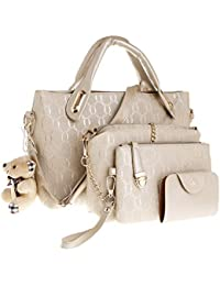 2cf2bfdbf9 TShopm 4Pcs Set Women Lady Leather Handbag Shoulder Bags Tote Purse  SatchelMessenger