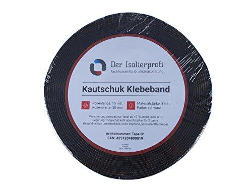 Kautschuk-Isolierklebeband 50 x 3 mm schwarz, 15 mtr, Original