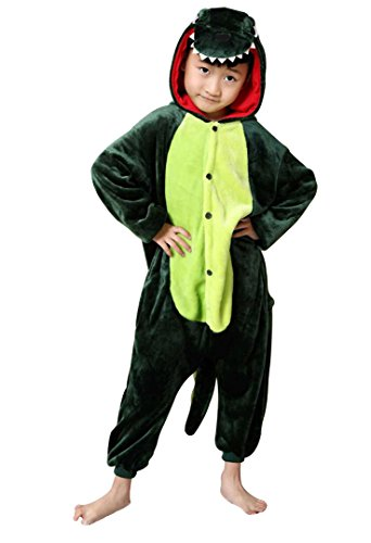 Irypulse Kinder Schlafanzug Flanell Onesie Pyjamas Kinder Cosplay Kostüme Jungen Mädchen Tier Outfit Dinosaurier