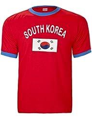 BRUBAKER Herren oder Damen Südkorea Fan T-Shirt Rot Gr. S - XXXL