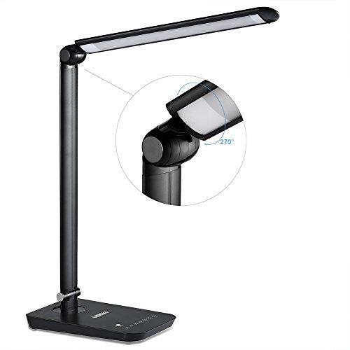 LEDGLE 9W Schreibtischlampe LED Leselampe dimmbar faltbare Tischleuchte Tageslicht 7 Einstellbare Helligkeitsstufen sensitive Touch-Control Schwarz