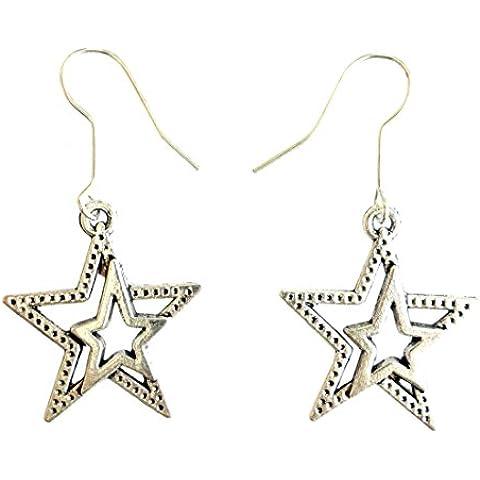 ORECCHINI moda per le donne 925 STERLINA SOVRAPPOSIZIONE FILIGRANA STAR orecchini di figura CIONDOLA - Black Pearl Ciondola Gli Orecchini
