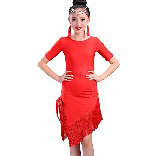 YONGMEI Tanz Kostüm - Latein Tanz Rock Mädchen Praxis Kleidung Quaste Kostüme Wettbewerb Test Kleidung (Farbe : Red, größe : ()