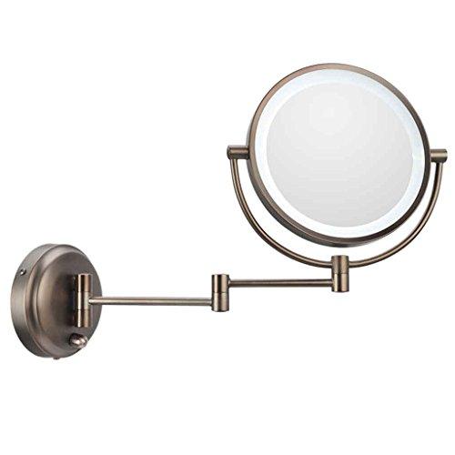 Miroirs Salle de Bains Double Face LED de Maquillage Tenture Murale Lumineuse Beauté Pliant Rétractable Vanité Salle de Bain LED Highlights 360 Degrés de Rotation 8 Pouces