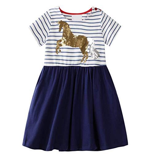 Kinder Mädchen Kleid Kurzarm Baumwolle Streifen Cartoon Tier Pailletten Besticktes Pferd Kleid Kleines Mädchen Baumwolle T-Shirt 1-8 Jahre Alt (Blau)