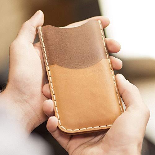 Étui Brun et Marron pour iPhone 8 7 6 6s en Cuir Véritable. Portefeuille avec Poche de Carte de Crédit. Coque Housse Case Cover Pochette